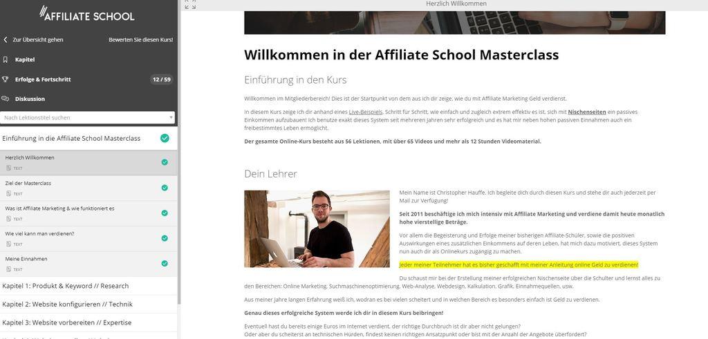 Affiliate School Masterclass - Einblick in die Willkommen-Seite.