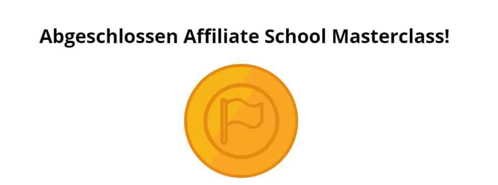 Affiliate School Masterclass - Abgeschlossen. Symbol.