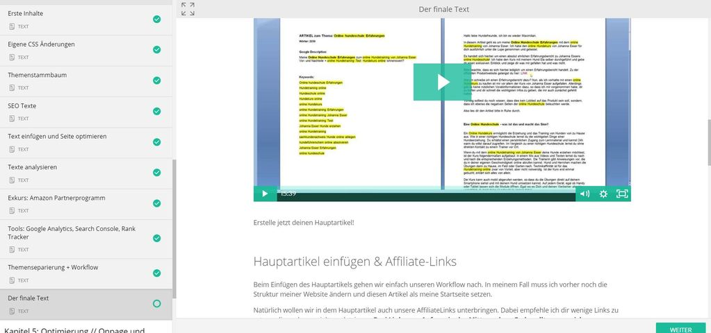 Der finale Text - Affiliate School Masterclass.